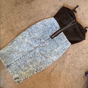 Dresses - Ladies Denim w/ Black Sweetheart Top Dress